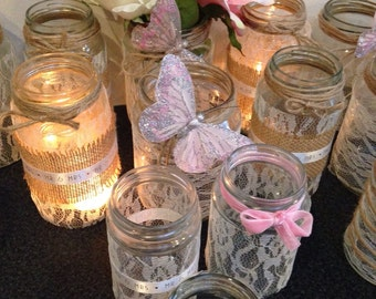 Handmade lace, burlap and ribbon wedding jars candle holders centrepieces assorted set x 6