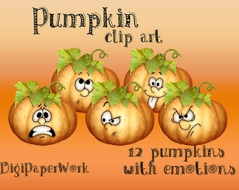 Pumpkins Clip art Halloween Digital Pumpkin with emotions clip art Scrapbooking Halloween Elements Personal and Commercial Use