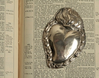 Italian ex voto. Sacred heart/flaming heart. 1930's