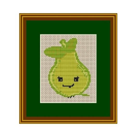 Pear Cross Stitch Pattern. Instant Download. PDF Pattern