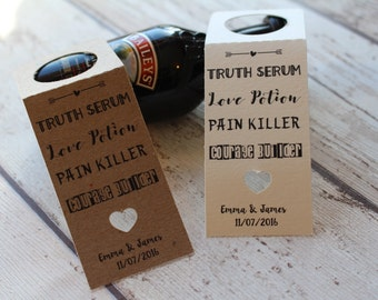 Personalised Rustic Wedding Favour Tags miniature bottle favours Truth Serum