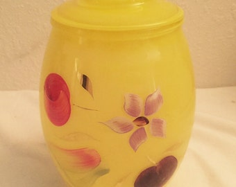 Vintage Bartlette Collins Yellow Glass Cookie Jar