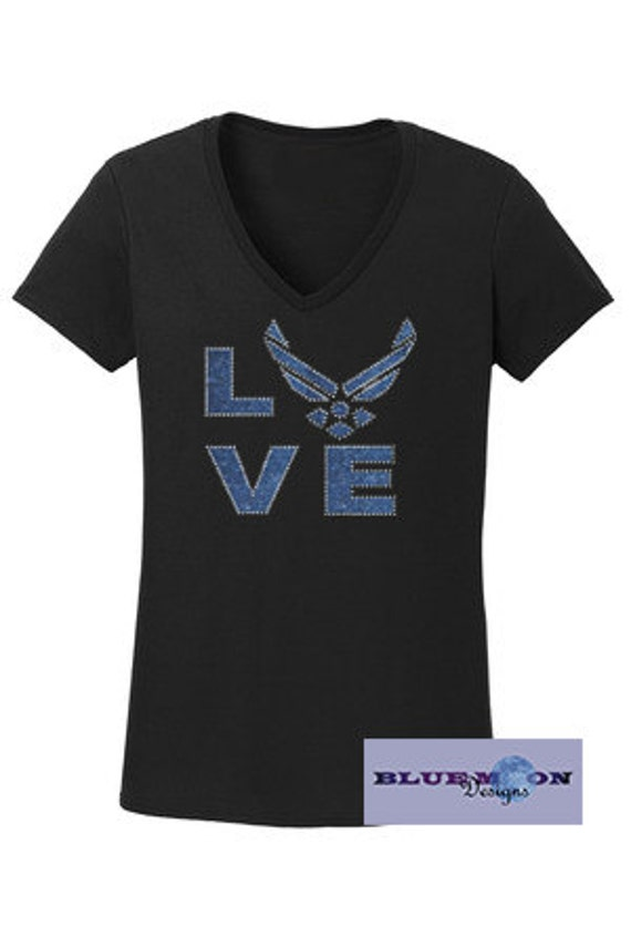 Airforce Love Vinyl Rhinestone T-Shirt Made to order
