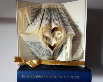 Folded Paper Sculpture-Gift Idea, birthday, anniversary, Valentine's day-handmade-Folded Book Art
