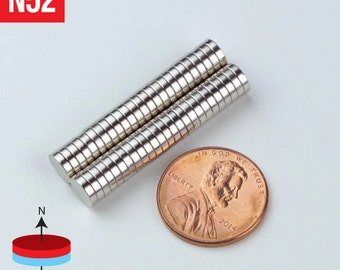 50pcs 6mm x 1.5mm - 1/4 x 1/16 inches - Grade N52 Strong Cylinder Disc Rare Earth NdFeB Neodymium Crafts Small Magnets