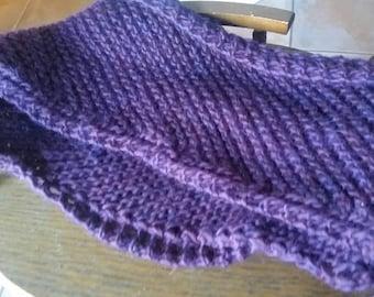 Purple Diagonal Knit Scarf