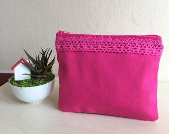 Pink Crotchet Zip Pouch,Boho Make up Bag,Linen Zippered Pouch,Pink Mini Bag,Boho Zipper Bag,Crotchet Zipper Pouch,Pink coin purse