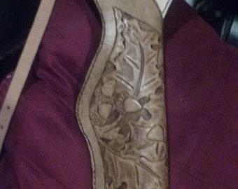 Carved Oak Leaf Leather Shoulder Holster