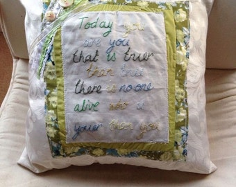 Handmade cushion with hand embroidered dr Zeus quote