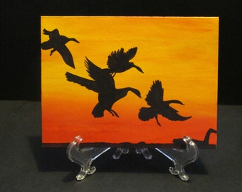 Geese in sunset - Art Card