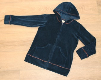 hooded jacket made of soft and cuddly organic velour