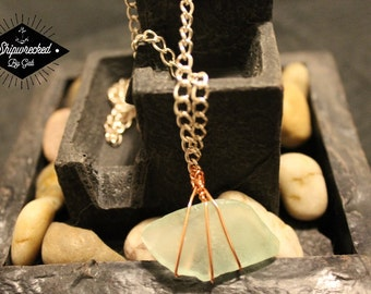 Pale Green Sea Glass Wire Wrapped Necklace! Handmade, one of a kind!