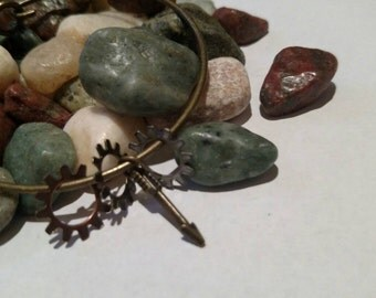 Simple, elegant, copper gear & arrow bangle! Handmade, one of a kind!