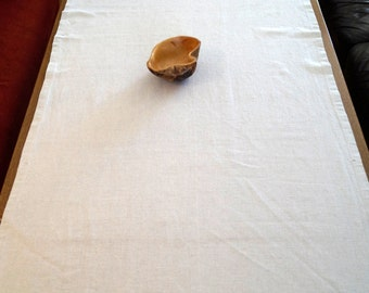 Linen Table runner. Vintage natural flax Tablecloth. Antique Tablecloth in natural color Rectangular 71 cm x 190 cm Rustic Table cloth