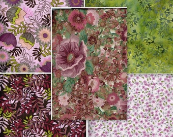 Fat Quarter Bundle Of 5, FQB1603, 100% Cotton Fabric, Burgundy, Green, Pinks, Yellow, Various Prints, Great For Quilting, Crafting