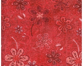 Fat Quarter, RD2412FQ,  100% Cotton Fabric,  Red, Pink, Burgundy, Flowers