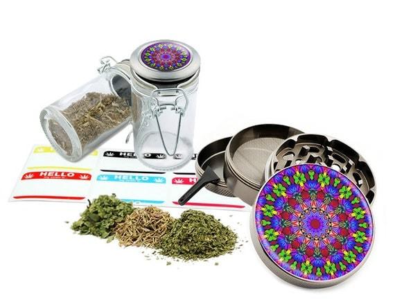 "Psychedelic - 2.5"" Zinc Alloy Grinder & 75ml Locking Top Glass Jar Combo Gift Set Item # 110514-0006"