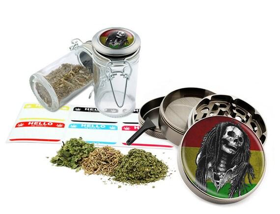 "Rasta Skull - 2.5"" Zinc Alloy Grinder & 75ml Locking Top Glass Jar Combo Gift Set Item # G022115-053"