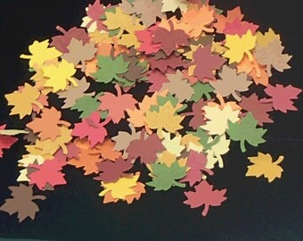 Autumn Leaves Confetti, Maple Leaf Confetti in Fall Colors, Scrapbook Embellishment, Fall Decor, Autumn Wedding Decor