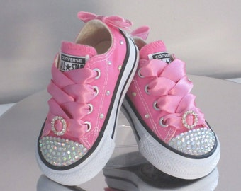 Infant Custom Crystal Toes, Backs and Fabric  *Bling* Converse Sizes 2-10. All Colours & Various Options Available