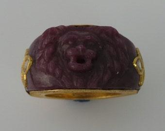 Ruby Gold Polki Tiger Ring