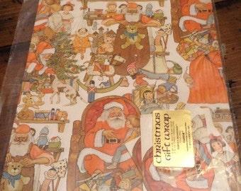 Vintage Santa's Workshop Christmas Giftwrap by Current 1979 (A382)