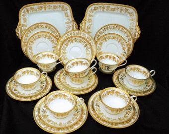 TEA SERVICE for 8 Antique Wedgwood gold gilt grape vine tea cup and saucer trio plus cake plate plates