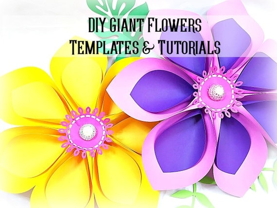 Giant Hawaiian Paper Flower Templates & Tutorial- Paper Flower SVG Cutting Files- Flower Wall- Giant Flower Backdrop