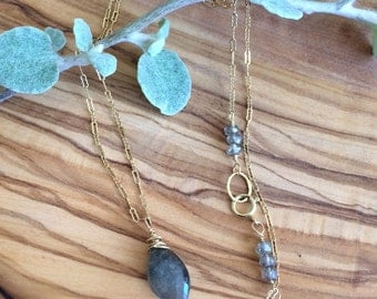 Labradorite Briolette Drop on Specialty Gold Filled Chain