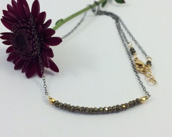 Natural Pyrite on Oxidized Sterling Silver Chain