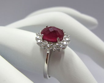 925 sterling silver ring with ruby