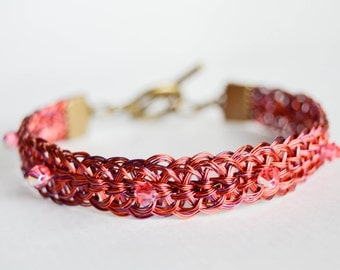 Woven wire and Swarovski Crystal bracelet