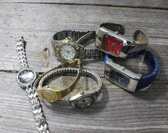 Set of 5 wrist watches, women's watches, Steampunk. Seiko, Anne Klein, Geneva