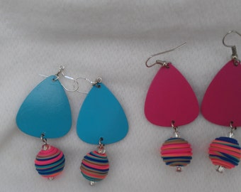 Fun and Funky Gloss Magenta and Turquoise Earrings!