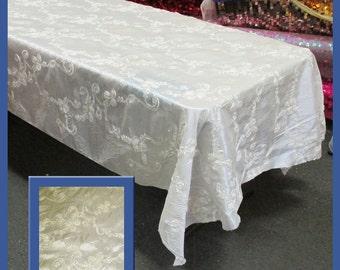 Ivory Ribbon Taffeta 58 X 108 Rectangle Tablecloth