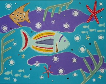 11 x 14 Canvas Painting/ Under the Sea