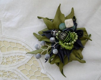 Brooch made of leather, hair accessories