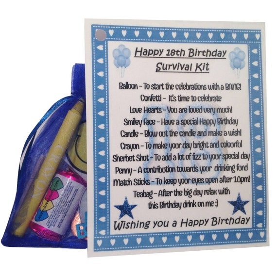 18th Birthday Survival Kit Birthday Gift Novelty Present: 18th Birthday Novelty Keepsake Survival Kit. By