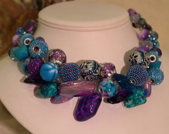 Chunky Statement Necklace - Galaxy Statement Necklace Silver Wire