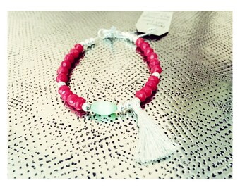 Tina silver bracelet 925/1000 red coral and green cat