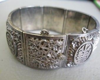 Vintage Chinese Silver Export Bracelet Heart & Key Charm
