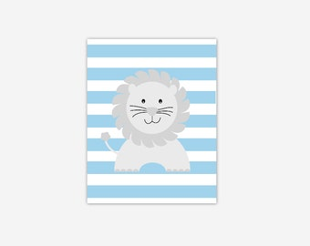 Baby Boy Nursery Wall Art Blue Gray Grey Lion Canvas Prints Baby Boy Girl Nursery Decor Safari Jungle Zoo Animals New Baby Shower Gift