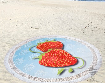 """Large Round Beach Towel Circle Rounded Towels 190cm (74"""") – Ref Strawberry"""