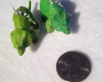 Green Dinosaur earrings