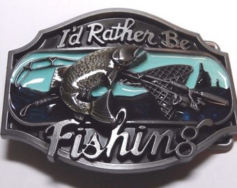 I'd Rather Be Fishing Enamel w/ Pewter Finish Belt Buckle