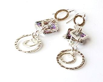 Long Geometric Earrings - Long Earrings - Geometric Earrings - Statement Earrings - Crystal Earrings - Long Link Earring - Geometric Jewelry