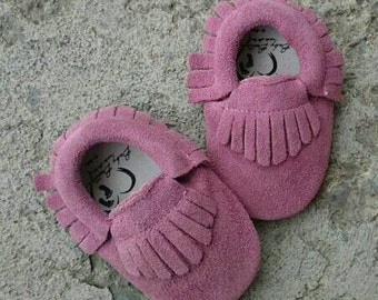 Suede Leather Baby Moccasins Purple Baby Moccasins Baby Booties Genuine Suede Moccasins Soft Sole