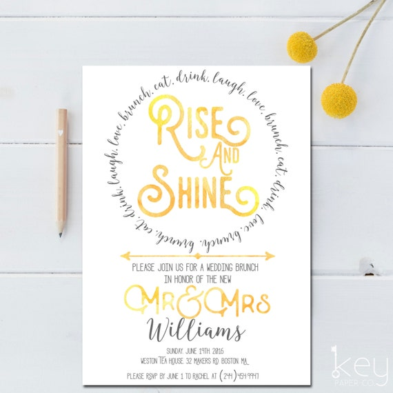 Post wedding brunch invitation printable rise by for Wedding brunch invitations