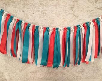 Satin Ribbon Banner/Fabric Garland/Turquoise Ribbon Garland/Coral Fabric Garland/Coral Wedding Decor/Barn Wedding Decor/Baby Shower Decor