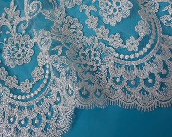 White lace fabric by the yard | White Lace | Net Lace
